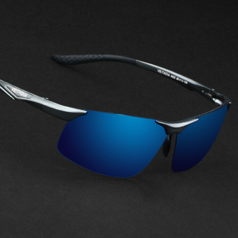 Harga VEITHDIA 2366 Polarized Sunglasses Men gun frame blue lens(Export)