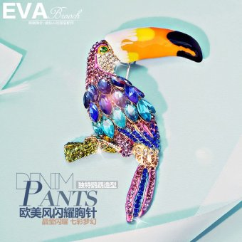 Harga Top brand classic luxury temperament wild painted crystal parrot brooch corsage seiko brand parrot brooch