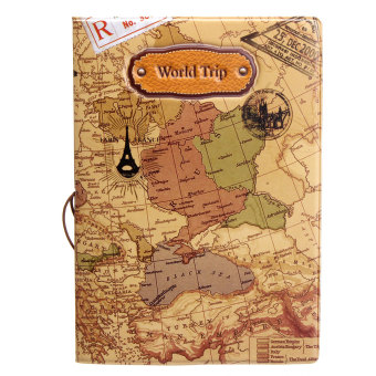Harga Leather World Map Passport Holder Organizer Travel Card Case Document Cover HOT Coffee