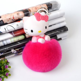 Harga Hello kitty cat rabbit fur ball fur plush pendant bag pendant ornaments car keychain pendant jewelry