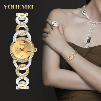 Harga YOHEMEI 0192 Luxury Top Brand Women Rhinestone Quartz Wrist Watches - Gold - intl