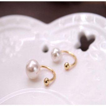 Harga Okdeals Fashion Silver Gold Pearl Wrap Ear Cuff Earring Cartilage Clip On No Piercing Gold - intl