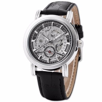 Harga Winner Skeleton Design Auto Mechanical Watch Leather Material Black(Export)