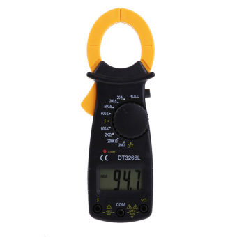 Harga DT3266L LCD Digital Clamp Meter AC DC Current Voltage Resistance Tester (Yellow)