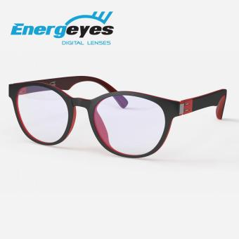 ENERGEYES Computer Glasses Protect Eyes and Cut Blue Light by 50% Adult Round Black Front and Cheery Red Back