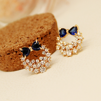 Korean-style crystal bow earrings Korean sweet diamond earrings super flash red earrings female temperament Korea