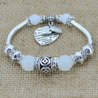 Harga Jiayiqi Indonesian Pearl Love Heart Bracelet (White)