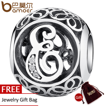 Harga BAMOER 100% 925 Sterling Silver Vintage Letter B Beads Charms Fit Bracelets & Necklace Alphabet Jewelry PSC008-E - intl