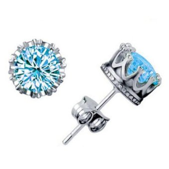 925 Silver Crown Stud Earrings Jewellry For Women and Men CZ Diamond Crown Wedding Stud Earring Fashion Jewelry 0055WH(Export)