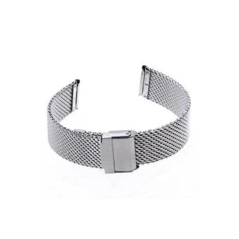 Harga HDL Generic 18mm Unisex Mesh Steel Watch Band Strap Bracelet Safety Buckle Silver