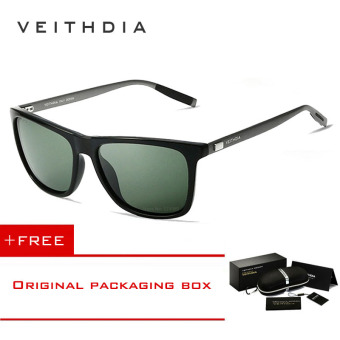 Harga VEITHDIA Brand Unisex Retro Aluminum+TR90 Sunglasses Polarized Lens Vintage Eyewear Accessories Sun Glasses For Men/Women 6108(dark-green) [ Buy 1 Get 1 Freebie ]