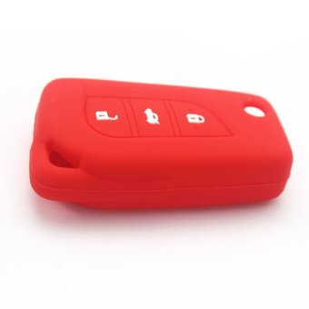 Harga RED New Silicone Flip Car Key Cover Case For Toyota Camry Highlander Corolla Prado REIZ Crown RAV4 3 Buttons Folding Car Key (EXPORT)