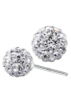 925 Sterling Silver Crystal Ball Stud Earrings