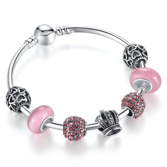 Harga BAMOER 925 Silver Charm Bracelet Bangle with Open Your Heart & Crown Pink Murano Glass Ball Friendship Bracelet PA3070 - Intl