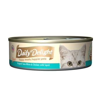 Harga Daily Delight Pure Skipjack Tuna White & Chicken with Squid (24 x 80g)