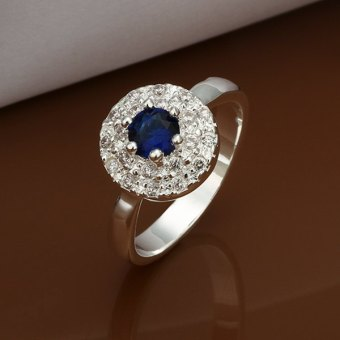 Harga Trendy Narrow Width Blue Diamonte Ring For Women