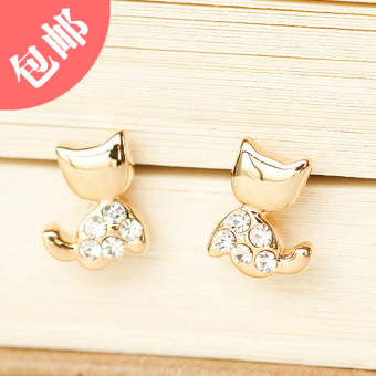 Diamond kitten cute fake earrings clip earrings no ear hole U-shaped ear clip Korea earrings fashion jewelry female