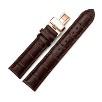iStrap 14mm Genuine Leather Strap Replacement Watch Band W/ Rose Gold Steel Deployment Clasp Brown