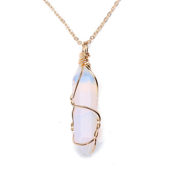 Harga Gemstone Natural Crystal Quartz Healing Point Chakra Stone Pendant for Necklace opal stone
