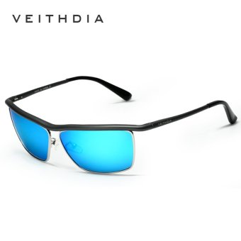 Harga VEITHDIA Brand Best Alloy Men's Sunglasses Polarized Lens Driving Fishing Eyewear Accessories Driving Sun Glasses For Men 6381(Gun/Blue)