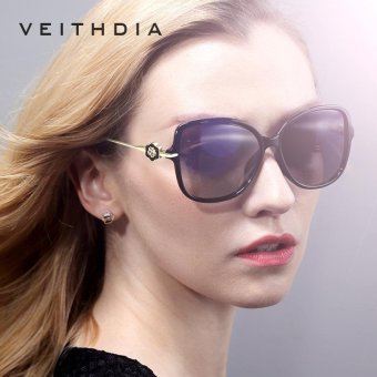 Harga VEITHDIA TR90 Women's Sun glasses Polarized Mirror Lens Luxury Ladies Flower Designer Sunglasses Eyewear For Women 8011 color black with box - intl