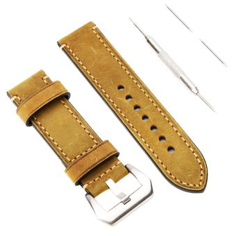 Genuine Leather 20mm Width Watchband Watch Strap Wristwatch Band with Lug Tool - intl