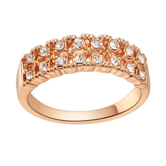 Harga MagiDeal Wedding Ring Jewellery Rose Gold Plated Double Row Rhinestone Rings Size 5 - intl