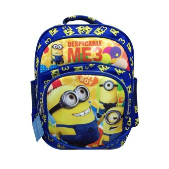 Harga Minions Printing Stationery Backpack With Pockets Going ClubbingSchool Backbag 14 inches - intl