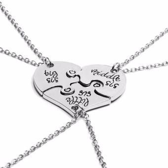 Harga Hequ 3 Piece Heart Personalized Hand Stamped big sis middle sis little sis 3 Sister Necklace Family - intl