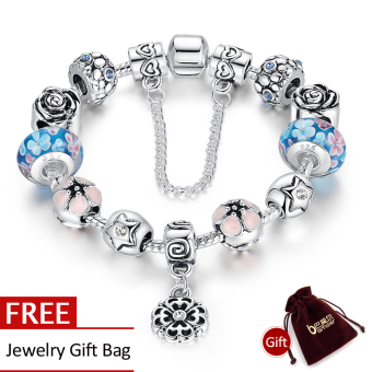 Harga BAMOER 925 Silver Murano Glass European Style Charm Beads Bracelets For Women PA1833 - Intl