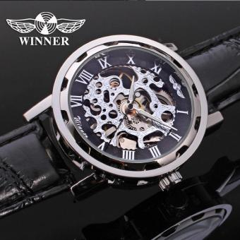 Harga Winner Business Men's Hollow Mechanical Watch Male Watch(Black) - intl