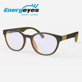 ENERGEYES Anti-Fatigue Computer Glasses Protect Eyes and Cut Blue Light by 50% Adult Round Dark Brown Front and Maple Yellow Back