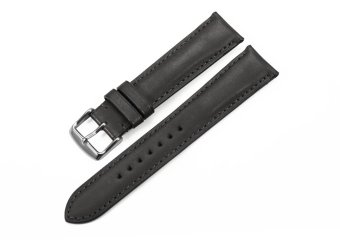 iStrap 20mm Genuine Calf Leather Watch Band Strap Steel Spring Bar Buckle Replacement Super Soft Clasp Black 20