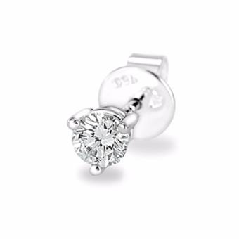 Harga MaBelle 18K White Gold Three Prong Setting Round Diamond Single Stud Earring (0.08 cttw, G-H color, SI1 Clarity)