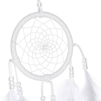 Harga Trendy White Crystals Feather Dream Catcher Hanging Decor - intl
