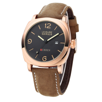 Harga 360DSC Curren 8158 Men's Analog Quartz Nubuck Leather Band Wrist Watch with Date Function - Golden + Brown