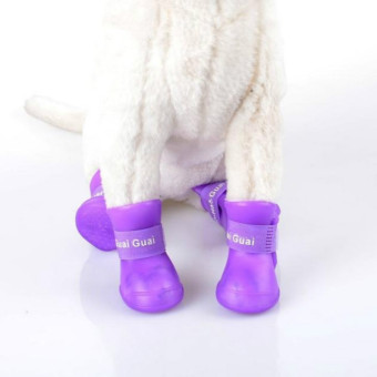 Harga Pet Dogs Rain Boots Dogs Walking Boots Non-Slip Waterproof Shoes Medium (Purple)