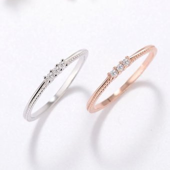 Harga 100% Real 925 Sterling Silver Rings Above Knuckle Ring Band Diamond Midi Ring (1 Pcs ) (Size/Style:16 ᆪᆲColorᆪᄎSilver) - intl