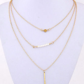 Harga Lady Geometry Faux Pearl 3 Layers Gold Chain Necklace - intl