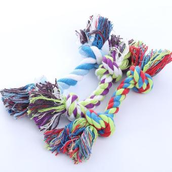 Harga Multicolor Pet Cotton Rope Bone Tug Dog Chewing Toy Big Chew Knot Toy Rope Toy