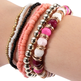 Harga Charming Multi Layers Bead Ladies Stretch Bracelets - intl