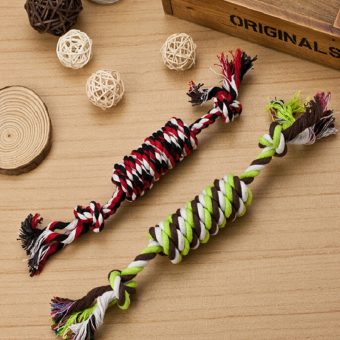 Harga Funny Puppy Dog Pet Chew Toy Cotton Braided Bone Rope Color Chew Knot - intl