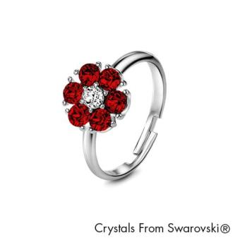 Harga Birthstone Flower Ring July (Ruby) - Crystals from Swarovski®