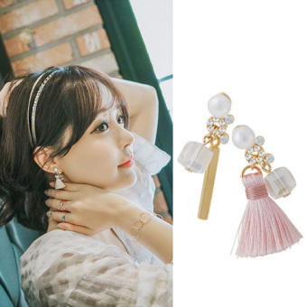 Harga Super cents Korean Series Small tassel not symmetrical crystal temperament fashion Korea Korean-style jewelry earrings ear ring earrings