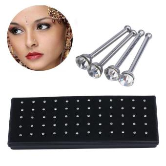 Harga leegoal Box Set Stainless Steel Jewelry Nose Studs Rings Pins,Hypoallergenic,Bling-bling (Silver) - intl