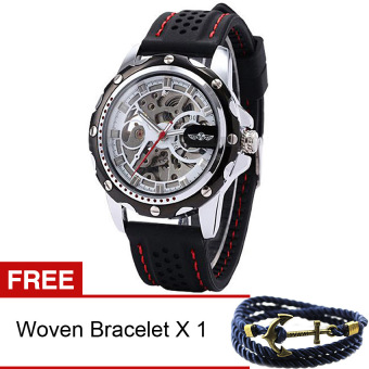 Harga WINNER Men's Automatic Silicone Watch (Black) [Buy 1 Get Freebie]