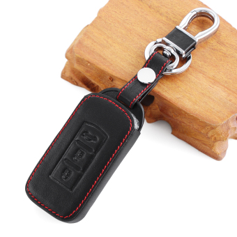 Harga Black Leather Key Chain Ring Cover Case Holder For Mitsubishi ASX Outlander Lancer EX Galant Pajero