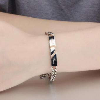 Harga Allwin New Stainless Steel Titanium Screw Hand Love Lover Cuff Bangle Bracelet