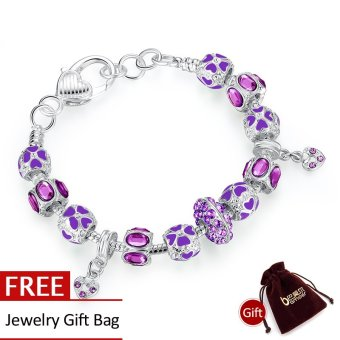 Harga BAMOER HOT SALE personalised silver beaded bracelets for women bead bracelets patterns bijoux jewelry PA1398 - Intl