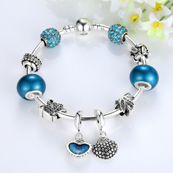 Harga BAMOER Silver Mother Son Charm Bracelets Heart Pendant Bangle with Blue Crystal Beads Mother's Day Gift PA3075-17 - Intl